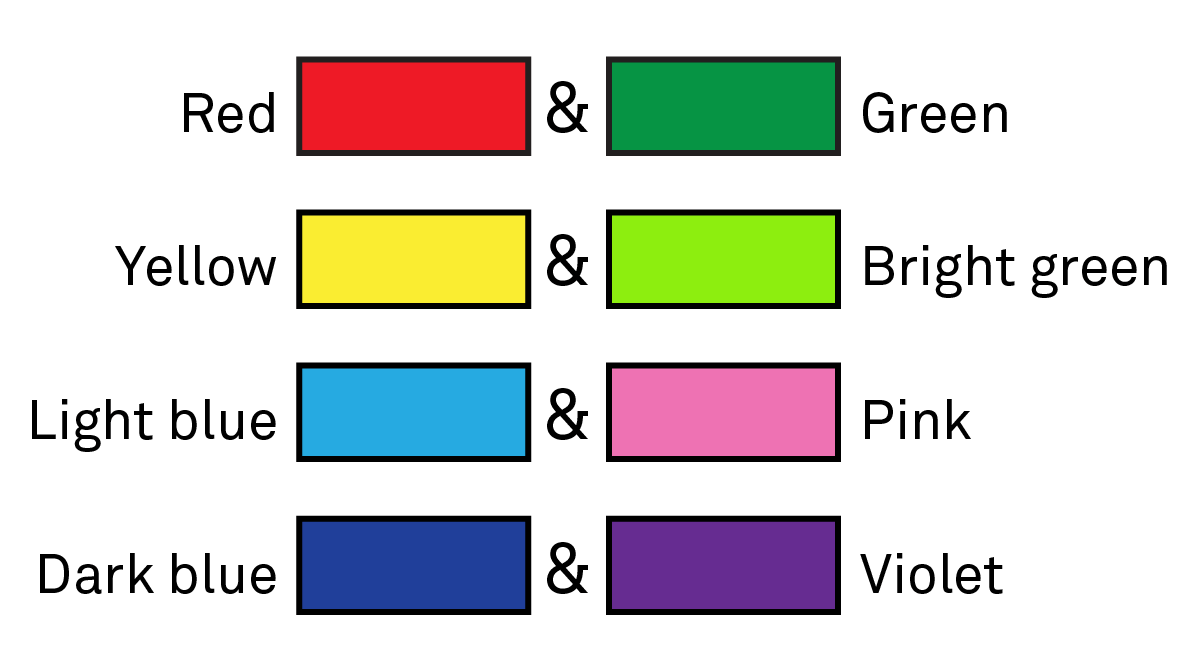 Pairs of colors in typical visual view: red and green, yellow and bright green, light blue and pink, and dark blue and violet.